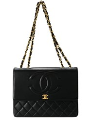Chanel Vintage Embossed Flap Shoulder Bag Black