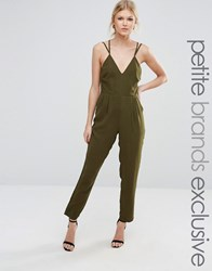 True Decadence Petite Strappy Plunge Front Jumpsuit Green
