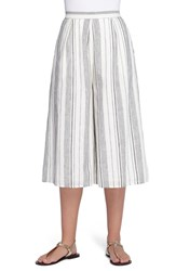 Women's Catherine Catherine Malandrino 'Shep' Stripe Linen And Cotton Crop Wide Leg Pants