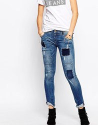 Pepe Jeans Patchwork Slim Jean With Roll Hem Blue
