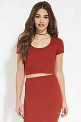 Forever 21 Ribbed Knit Crop Top Rust