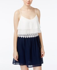 Teeze Me Juniors' Chiffon Popover A Line Dress Off White Navy