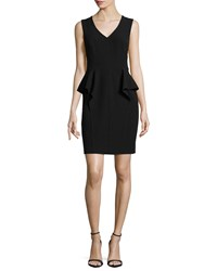 Halston Sleeveless V Neck Peplum Dress Black