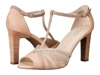 Seychelles Lap Nude Leather Rose Gold Metallic High Heels Beige
