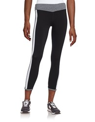 Kensie Colorblocked Athletic Pants Black White