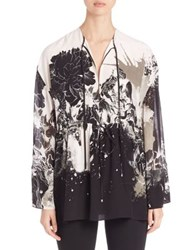 Roberto Cavalli Long Sleeve Caftan Blouse Black White