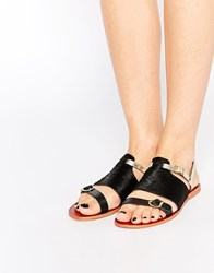 Ravel Strappy Leather Flat Sandals Black