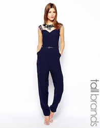 Little Mistress Tall Mesh Insert Embellished Jumpsuit Navy