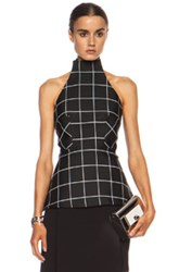 Josh Goot Halter Poly Blend Top In Black Checkered And Plaid