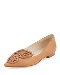 Sophia Webster Bibi Butterfly Leather Flat Tan