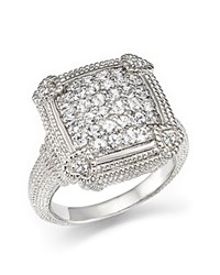 Judith Ripka Pave Linen Cushion Ring With White Sapphire White Silver