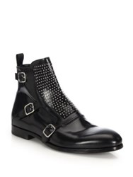 Alexander Mcqueen Studded Leather Buckle Boots