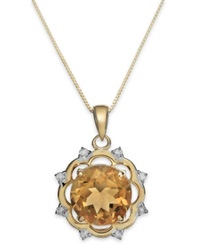 Macy's Citrine 3 1 2 Ct. T.W. And Diamond 1 8 Ct. T.W. Pendant Necklace In 14K Gold Orange