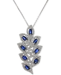 Effy Collection Royale Bleu By Effy Sapphire 1 3 4 Ct. T.W. And Diamond 1 2 Ct. T.W. Leaf Pendant Necklace In 14K White Gold