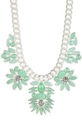 T J Designs Minty Leaf Matte Chain Bib Necklace Green