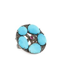 Bavna Round Turquoise Diamond And Composite Ruby Ring