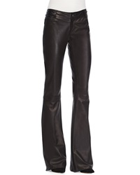 Alice Olivia Leather Flare Leg Pants Black