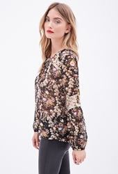 Forever 21 Floral Chiffon Peasant Blouse
