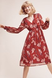 Anthropologie Riverwind Peasant Dress Red Motif