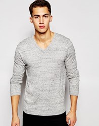 Asos V Neck Jumper In Cotton Grey