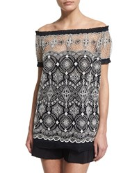 Naeem Khan Off The Shoulder Embroidered Peasant Top Black White