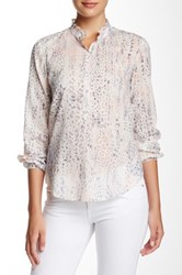 Rebecca Taylor Long Sleeve Leopard Voile Blouse Pink