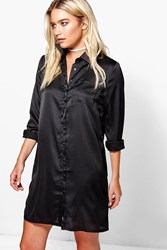 Boohoo Satin Shirt Dress Black