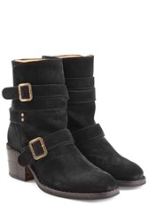 Fiorentini Baker And Buckled Suede Mid Height Boots Black