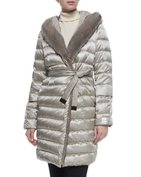 Max Mara Fur Trimmed Quilted Mid Length Puffer Coat