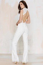Nasty Gal Adriana Lace Jumpsuit White