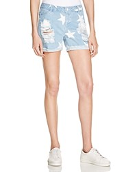 Noisy May Scar Star Shorts In Light Blue Denim