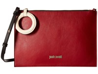 Just Cavalli Color Block Calf Leather Crossbody Ruby Red