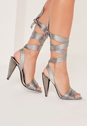 Missguided Cone Heel Lace Up Sandals Grey
