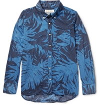Remi Relief Button Down Collar Printed Cotton Voile Shirt Blue