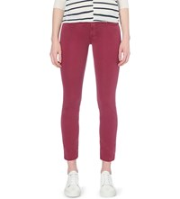 7 For All Mankind Roxanne Slim Fit Cropped Mid Rise Jeans Riche Sateen Burgundy