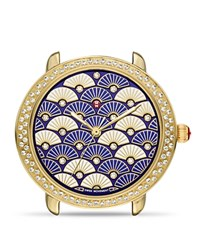 Michele Serein 16 Blue Fan Diamond Dial Watch Head 34Mm