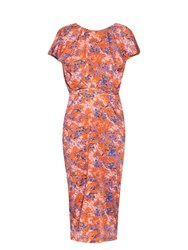Saloni Apsara Chinoiserie Print Jersey Dress Orange Print