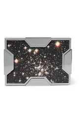 Lee Savage Space Printed Leather And Gunmetal Tone Clutch Silver