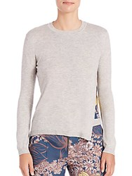Yigal Azrouel Floral Panel Sweater Heather Grey