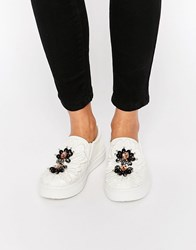 Asos Delicious Embellished Trainers White