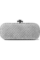 Bottega Veneta Knot Watersnake Trimmed Quilted Velvet Clutch Light Gray