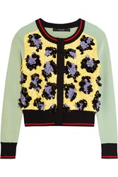 Sibling Sequined Stretch Knit Cardigan Mint Yellow