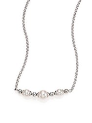 Majorica 6Mm 8Mm White Round Pearl Beaded Necklace Silver