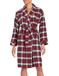 Lord And Taylor Plaid Flannel Robe Red