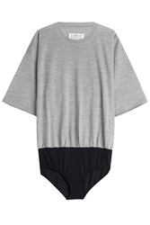 Maison Martin Margiela Maison Margiela Wool Silk T Shirt With Body Grey