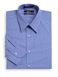 Saks Fifth Avenue Black Slim Fit Mini Gingham Cotton Shirt Blue
