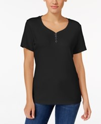 Karen Scott Henley T Shirt Only At Macy's Deep Black