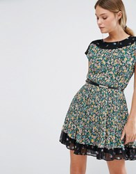 Oasis Pleated Ditsy Dress Multi