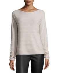 Vince Horizontal Rib Cashmere Top New Buff