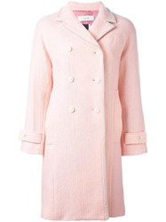 Facetasm Textured Double Breasted Coat Pink Purple